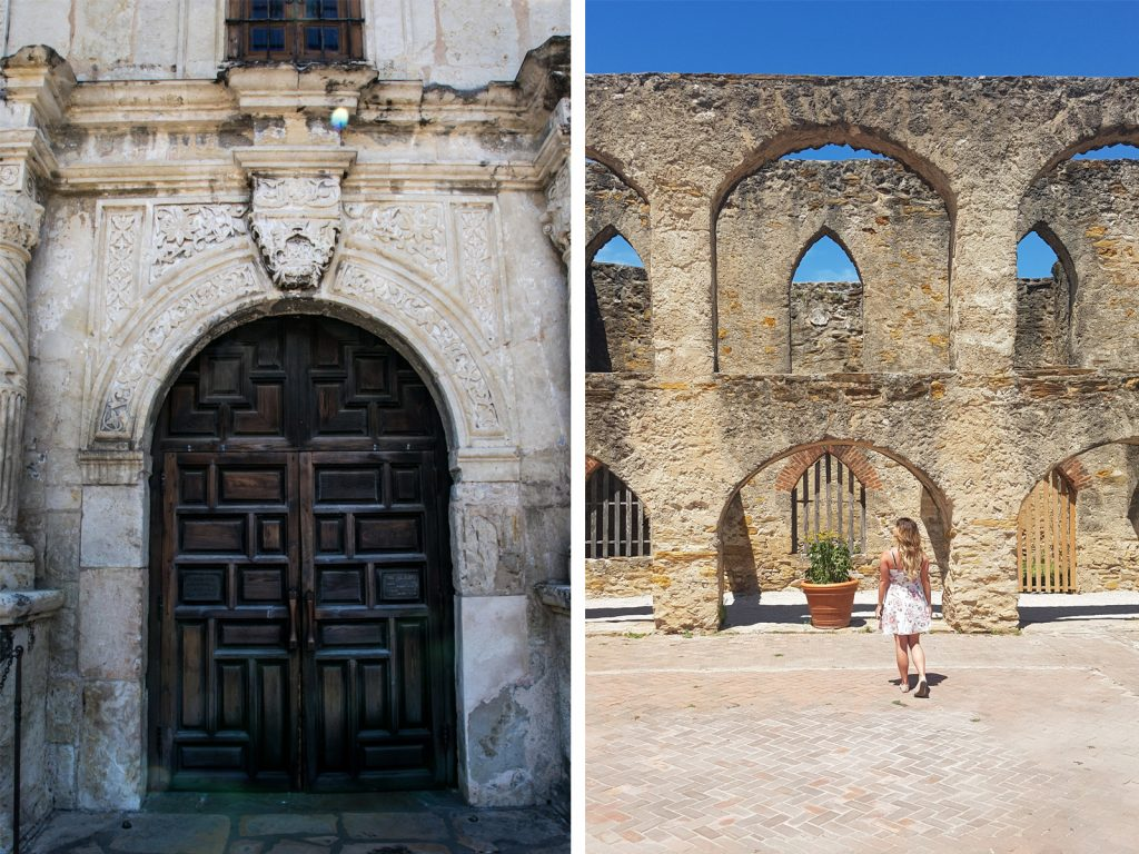 The doors to the Alamo mission and Mission San Jose.