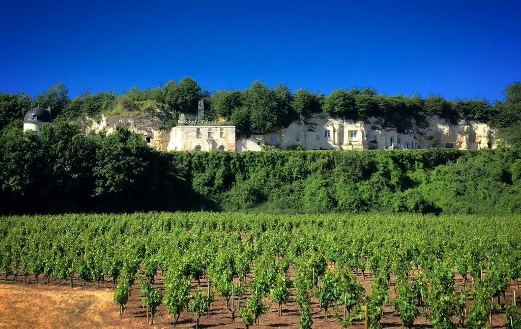 A winery built into the limestone cliffs of the Loire Valley