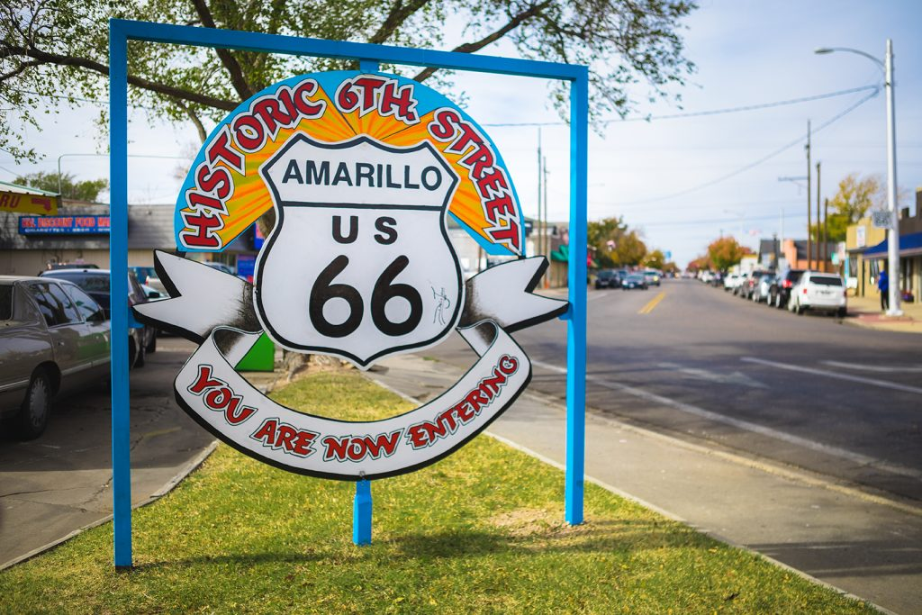 Route 66 sign in Amarillo, Texas