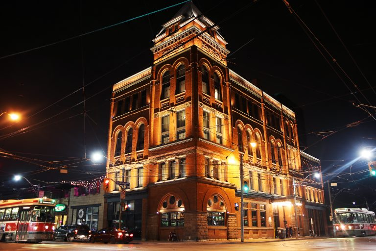 The Broadview Hotel at night.