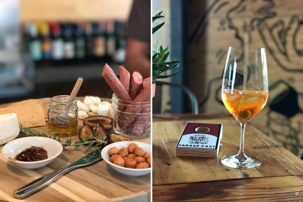 The charcuterie plate at Garage-East (left) will satisfy your sweet and salt tooth. Wash it down with a specially-crafted cocktail (right) or one of the wines produced in-house.