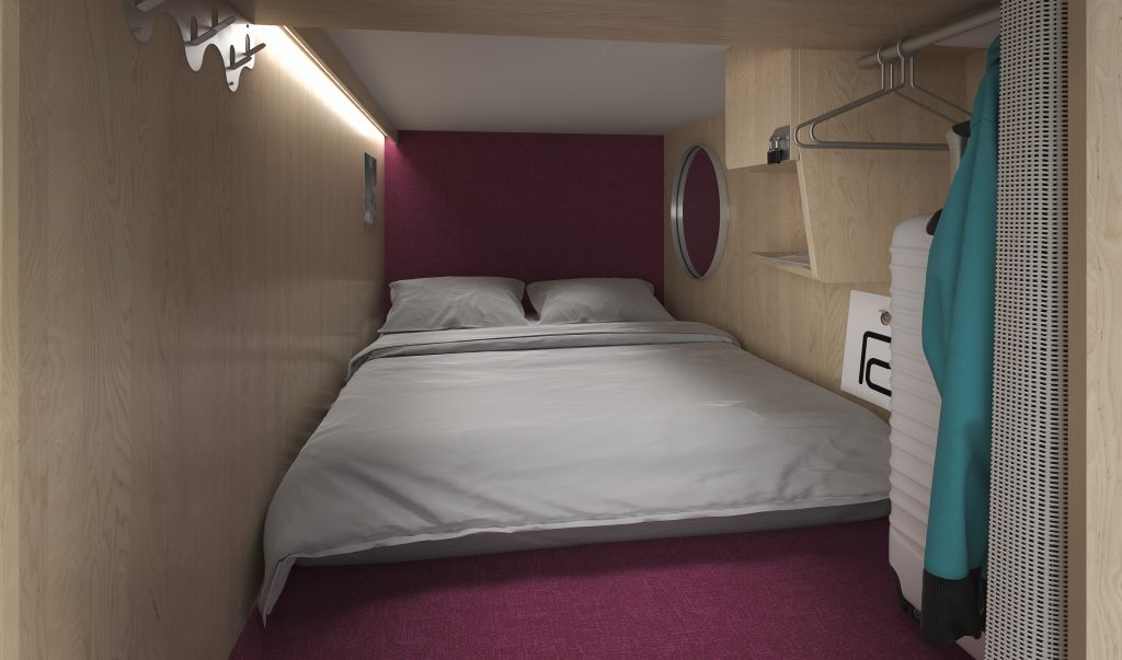 A rendering of the interior of a sleeping pod at the Pangea Pod Hotel.