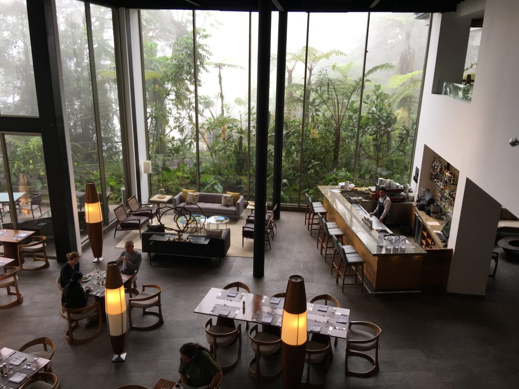 The panoramic dining room at Ecuador's Mashpi Lodge.