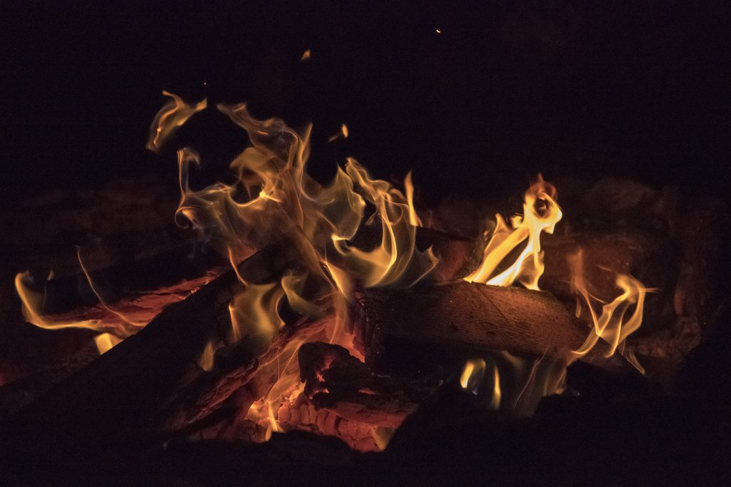 A high-ISO test shot during a bonfire night at the CMH Cariboos Lodge.