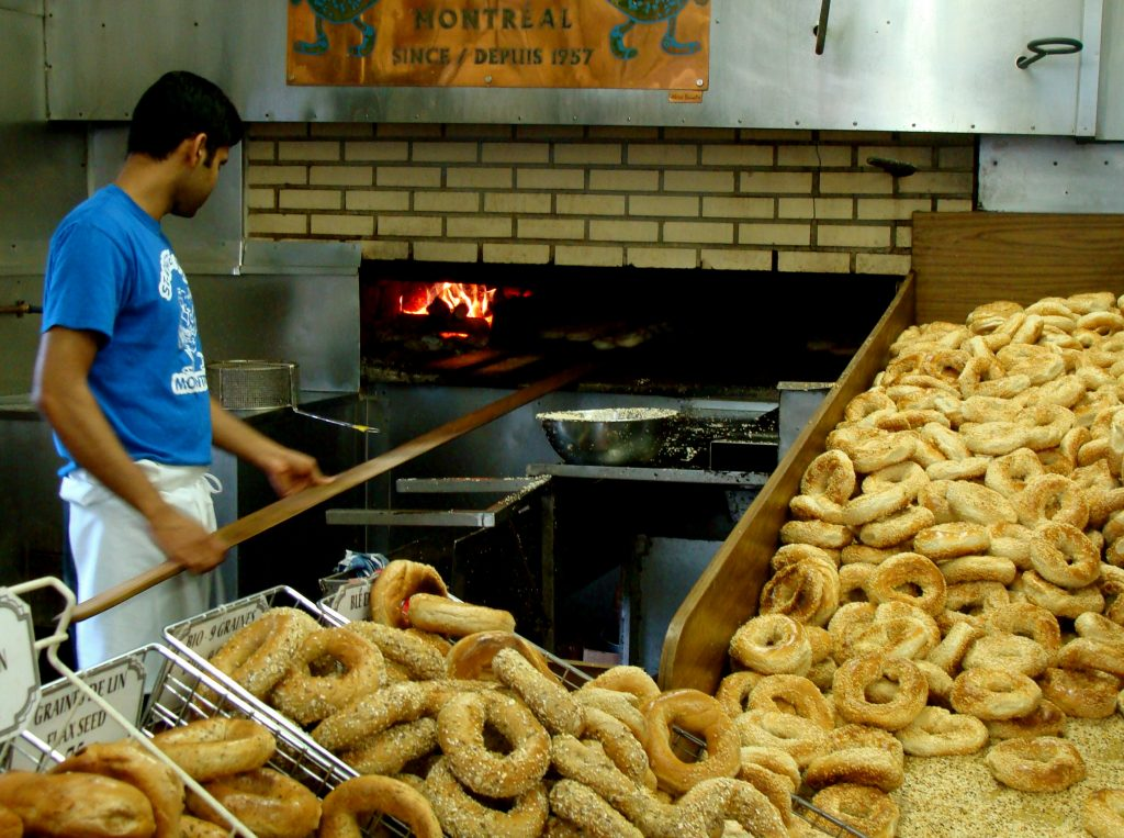 Wood-firing bagels at St-Viateur.