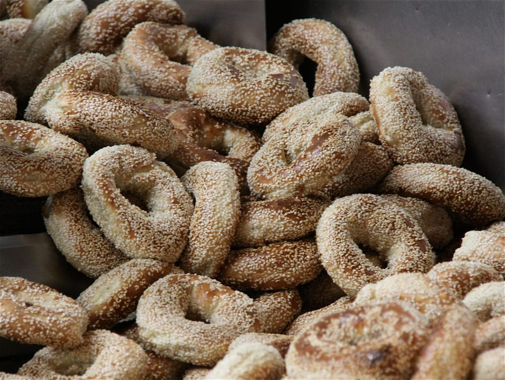 Fresh bagels at Fairmount Bagel Bakery in Montreal.