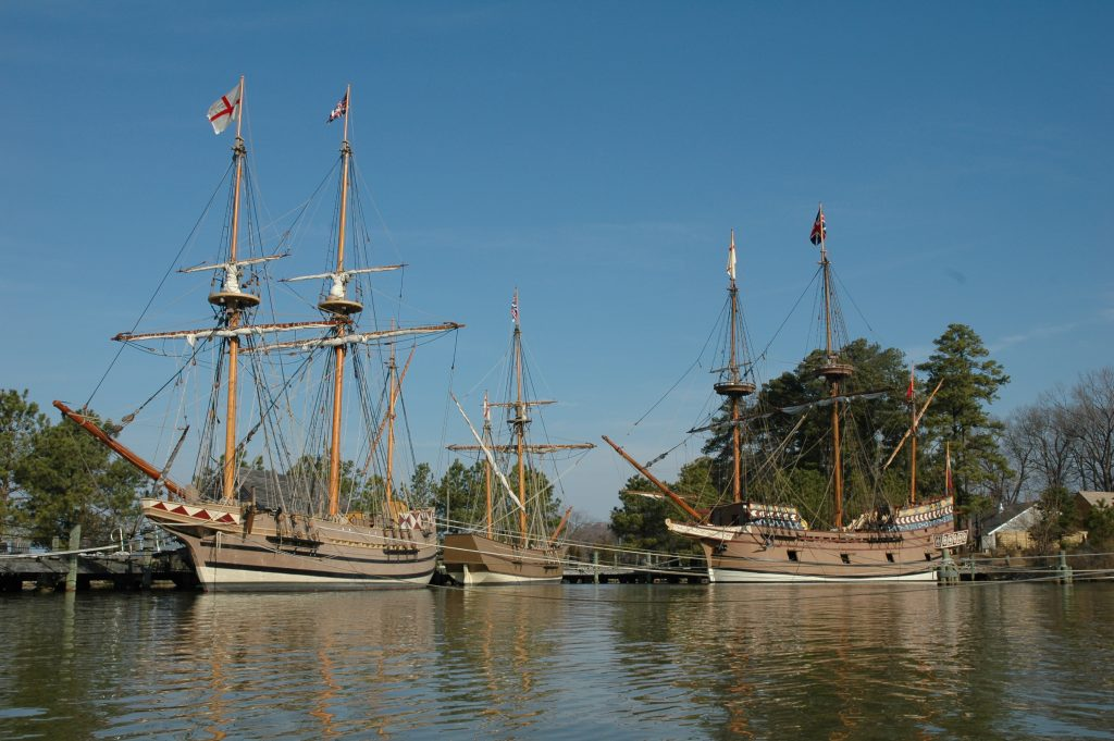 Old sailing ships at harbour