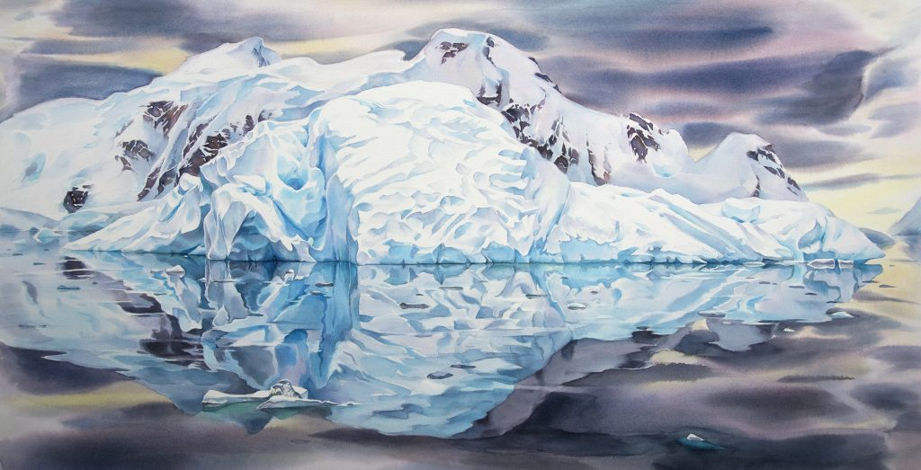 Watercolour painting of a glacier in antarctica