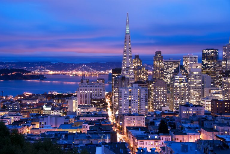 San Francisco cityscape, shot at a cloudy dusk.