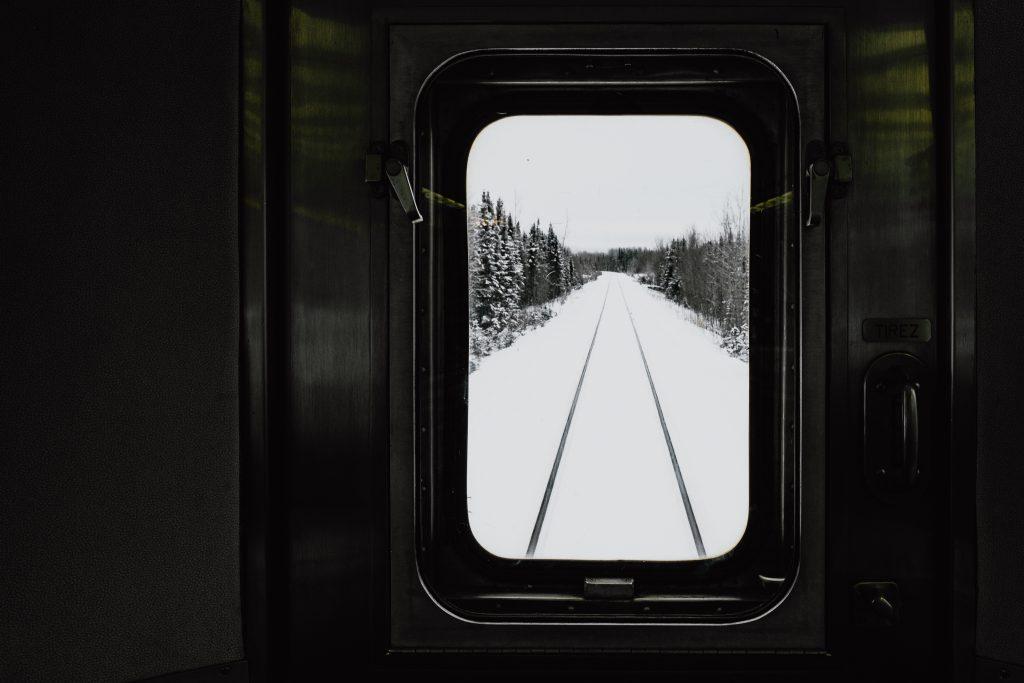 Via Rail, train, Thompson, window view, track
