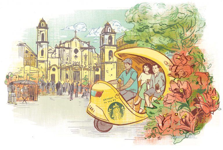 Havana, illustration, coco-taxi, travel, Cuba