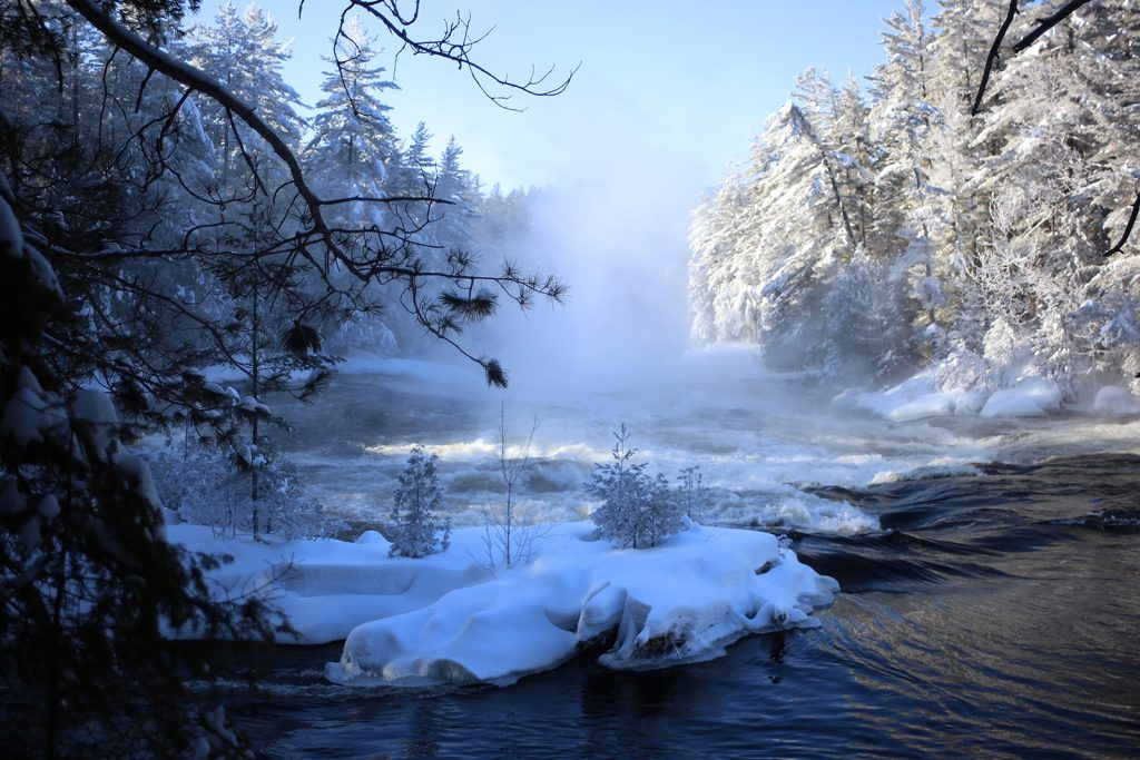 A winter view of icy trees and snow on the Kipawa River from the Grande-Chute Trail.