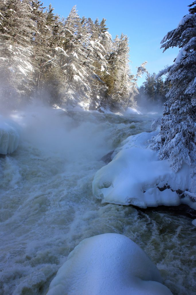 A frozen winter view of the Grande-Chute, a waterfall with a 15-metre drop near the mouth of the Kipawa River