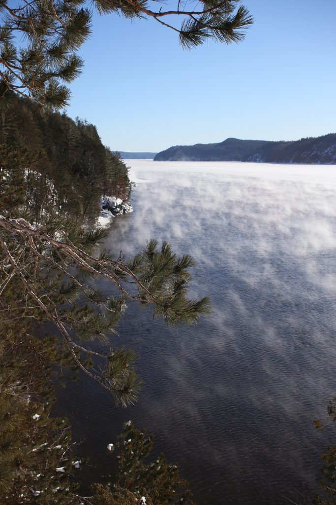 Steam rises from the surface of Lac Temiscamingue as it freezes on a -27 C afternoon.
