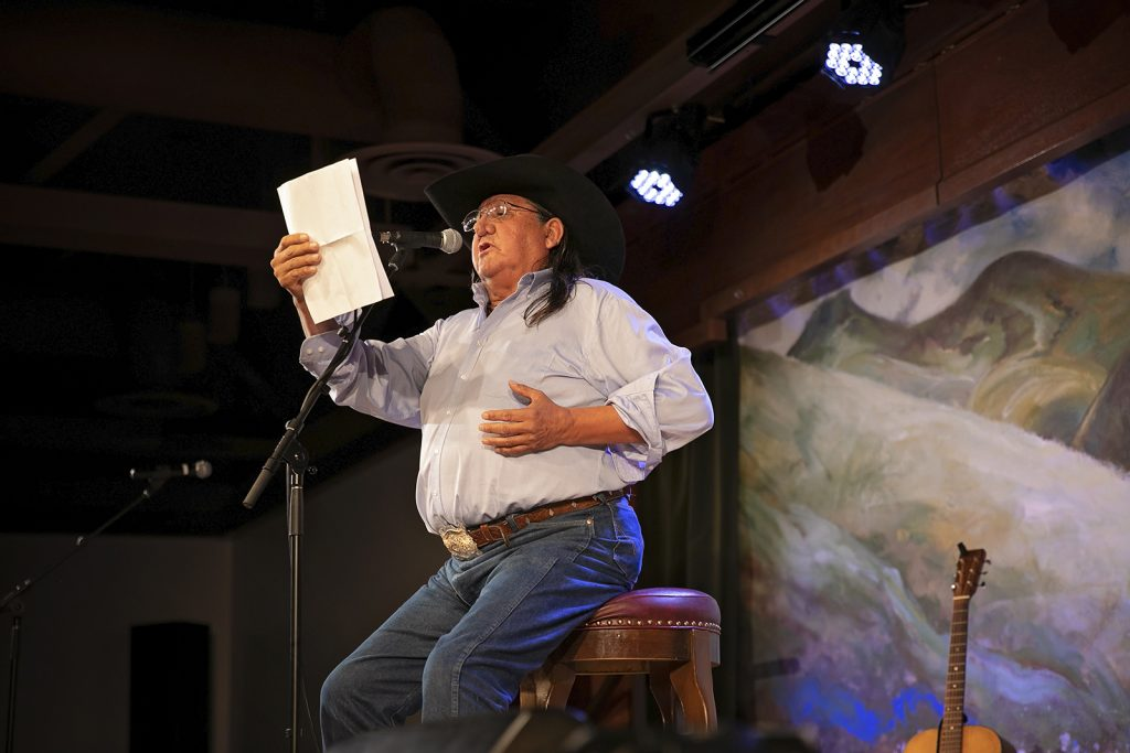 A former Poet Laureate of Montana, Henry Real Bird, performs at the Cowboy Poetry Gathering