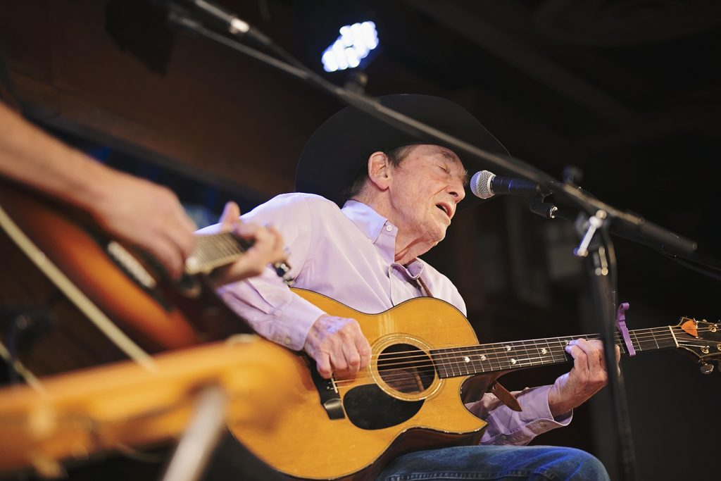 85-year-old Canadian folk artist Ian Tyson performs before a sold-out crowd at the Western Folklife Center's G Three Bar Theatre.
