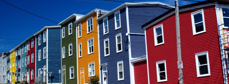 Row of colourful houses Jellybean Row St. John's Newfoundland