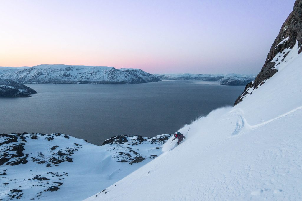 Norway, spring skiing, Finnmark, sailing