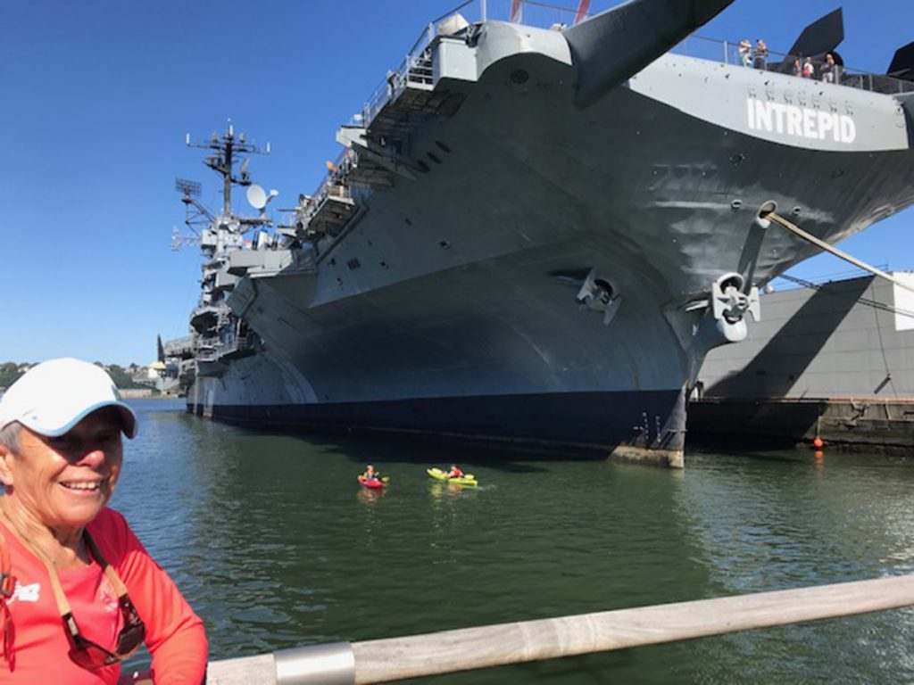 aircraft carrier USS Intrepid Manhattan kayak