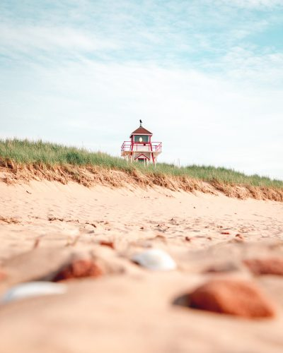 A sandy beach blocking a lighthouse