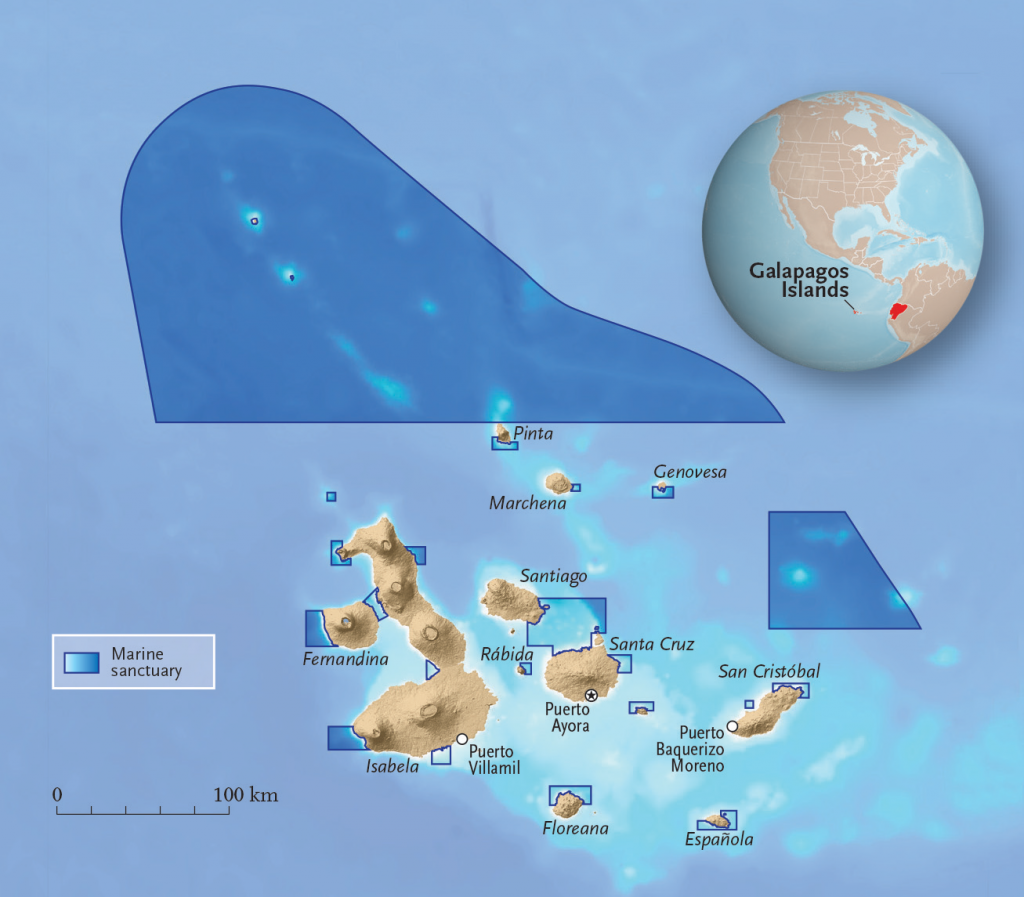 Map of Galapagos islands and its marine sanctuaries.