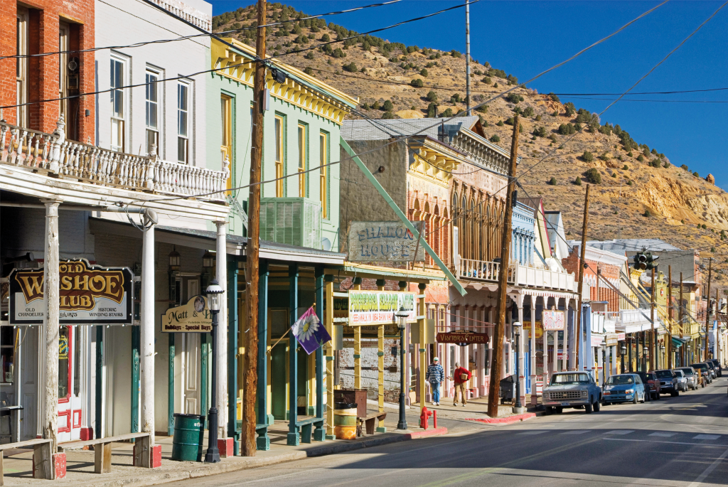 Nevada high street with desert hill in background