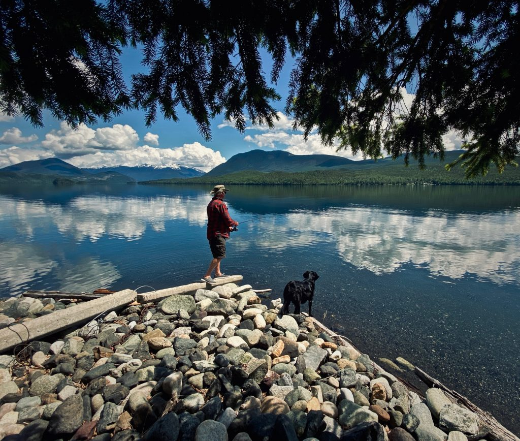 Man fishes in canadian lake