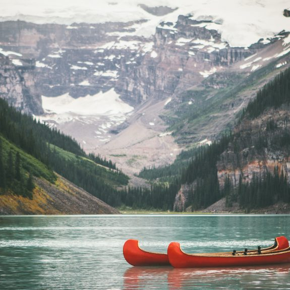 canoes on a lake canada