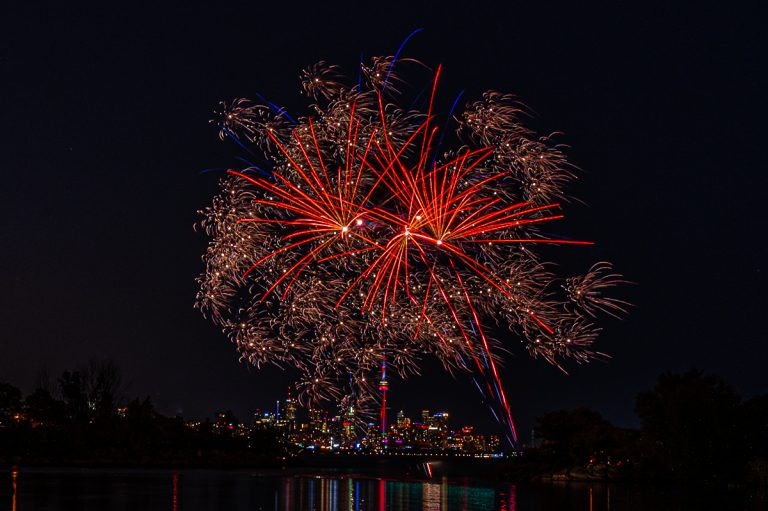 Fireworks in Toronto for Canada Day 2020